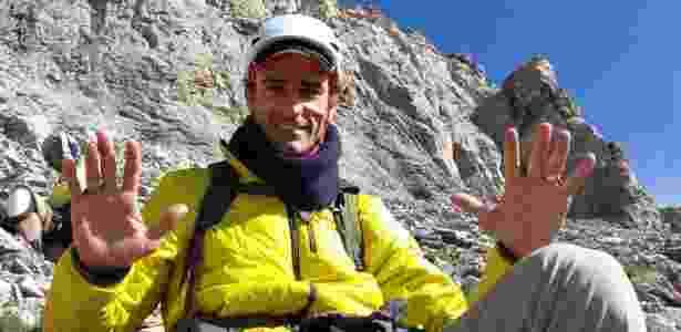 """O comentarista Emanuel acompanhou Clayton Conservani em uma escalada ao Monte Olimpo, na Grécia, em reportagem deste domingo no """"Esporte Espetacular"""". - Divulgação - Divulgação"""