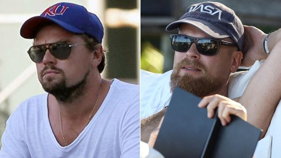 A primeira imagem é de Leonardo DiCaprio em foto recente. A segunda seria de um sósia que se passa pelo ator em Trancoso - Reprodução/Gabriel Reis
