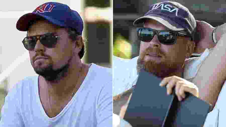 A primeira imagem é de Leonardo DiCaprio em foto recente. A segunda seria de um sócia que passa pelo ator em Trancoso, na Bahia - Reprodução/Gabriel Reis