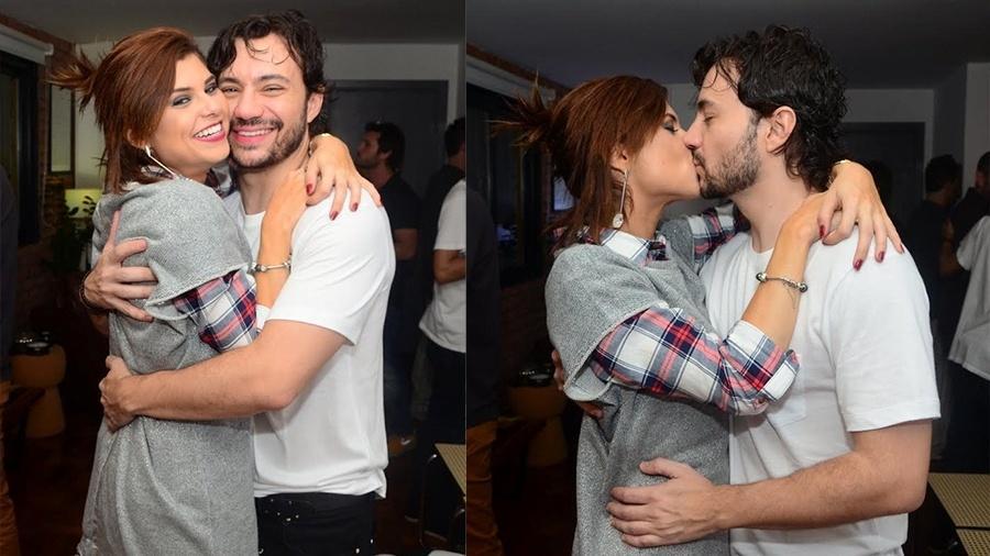 """Julianne Trevisol beija Rafael Primot em festa para comemorar estreia da peça """"Uma Vida Boa"""" em São Paulo - Eduardo Martins/Ag.News"""