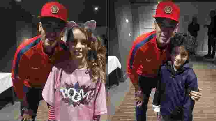 Donatella e Stefano, filhos de Marcos Mion, tiram foto com Neymar - Reprodução/Instagram - Reprodução/Instagram