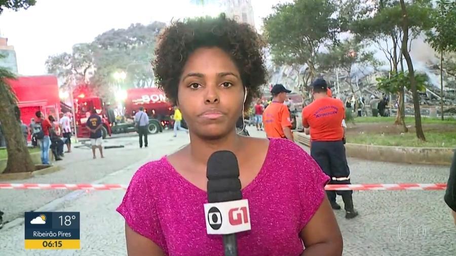 A repórter Camila Silva cobriu o incêndio que provocou o desabamento de um edifício no centro de São Paulo, em maio - Reprodução/TV Globo