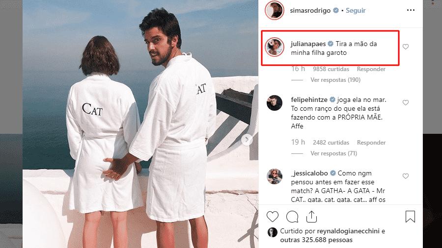 Juliana Paes comenta foto de Agatha Moreira e Rodrigo Simas - Reprodução/Instagram