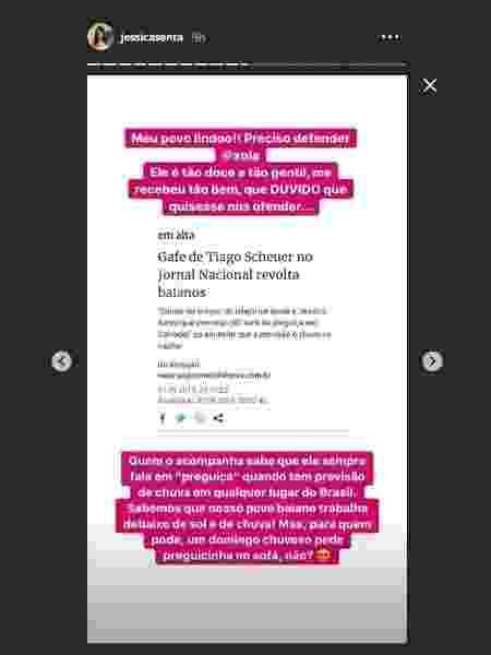 Jéssica Senra defende Tiago Scheuer - Reprodução/Instagram/jessicasenra