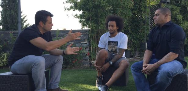 Marcelo e Roberto Carlos conversaram com o repórter Eric Faria - Jefferson Rodrigues/Divulgação/TV Globo