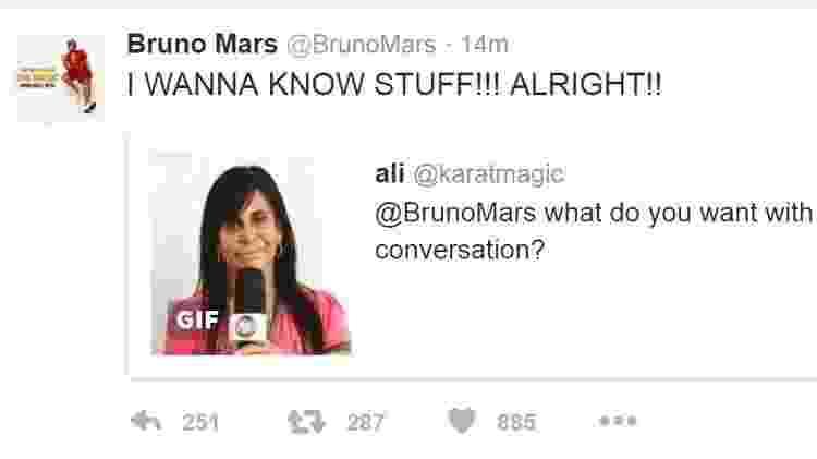 Retuíte de Bruno Mars com o gif da rainha brasileira do rebolado - Reprodução/Twitter