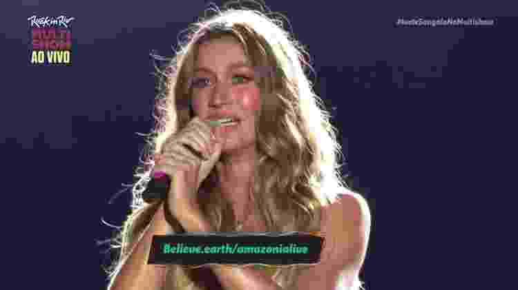 Gisele Bundchen chora ao falar sobre Amazônia em abertura do Rock in Rio - Reprodução/Multishow - Reprodução/Multishow