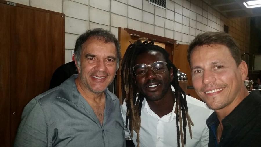 Humberto Martins, Jonathan Azevedo e Well Aguiar durante coquetel nos estúdios Globo - Divulgação