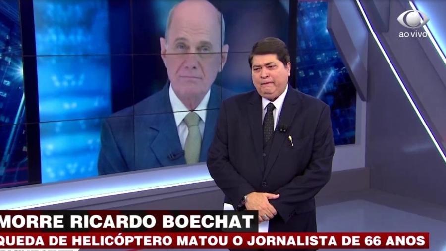 Datena chorou ao noticiar a morte de Boechat e conversou com Jair Bolsonaro - Reprodução/Band
