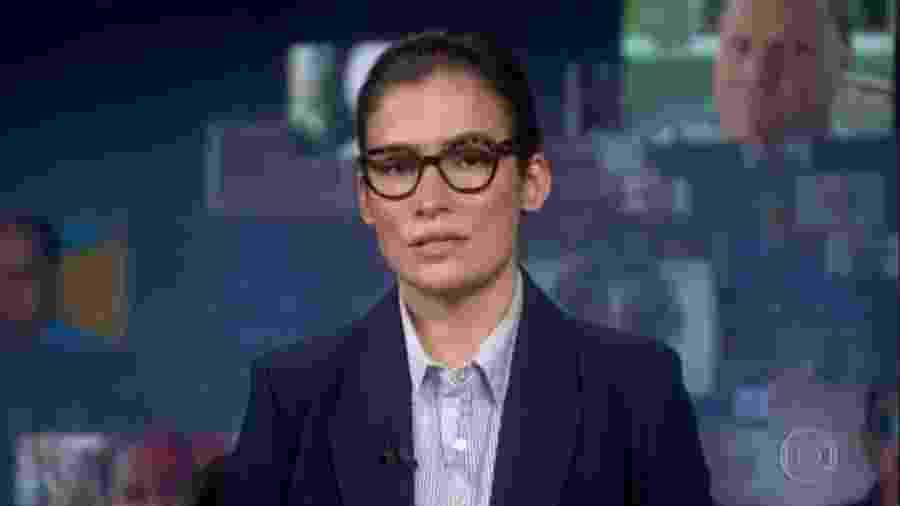 A apresentadora Renata Vasconcellos durante edição do Jornal Nacional - Reprodução