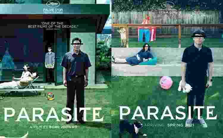 Cartaz original do filme 'Parasita' (à esquerda) e montagem feita pelo casal (à direita) - Divulgação/IMDb e Reprodução/Reddit/notdagreatbrain - Divulgação/IMDb e Reprodução/Reddit/notdagreatbrain