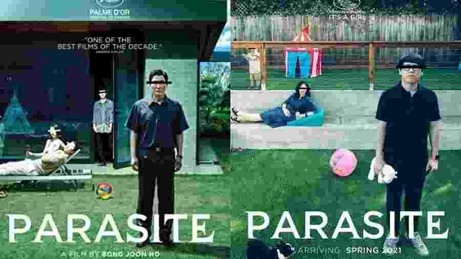 """Foto do cartaz original do filme """"Parasita"""" (à esquerda) e montagem feita pelo casal para anunciar a gravidez (à direita) - Divulgação/IMDb e Reprodução/Reddit/notdagreatbrain"""