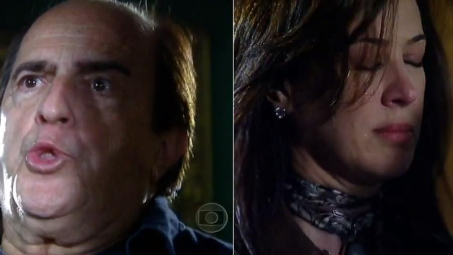 """Ary Fontoura cospe em Claudia Raia em cena da novela """"A Favorita"""" (2008) - Montagem/Reprodução/TV Globo"""