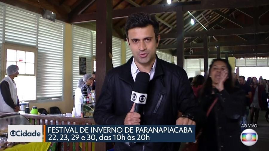 """Mulher invade matéria do """"SP1"""", da TV Globo - Reprodução/Globo"""