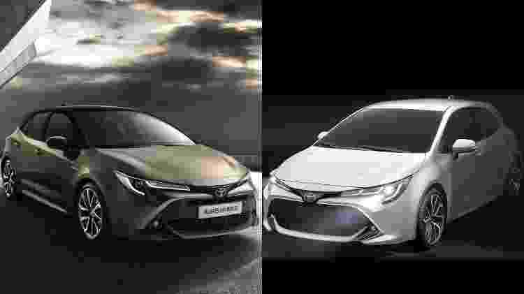 Quando comparamos o Auris europeu (esq.) ao novo Corolla hatch americano (dir.), observamos que o visual é praticamente idêntico, mudando apenas a quantidade de projetores e guias em LED nos faróis - Divulgação/Arte UOL