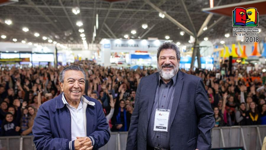 Mauricio de Sousa e Mario Sérgio Cortella na Bienal do Livro - Divulgação