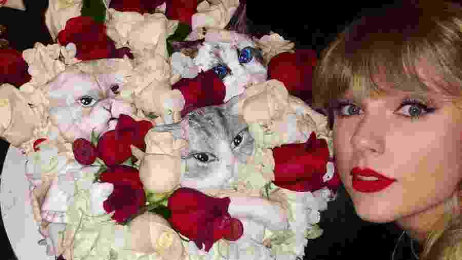 Taylor Swift publica foto do bolo de aniversário enfeitado com flores e gatos - Reprodução/Instagram