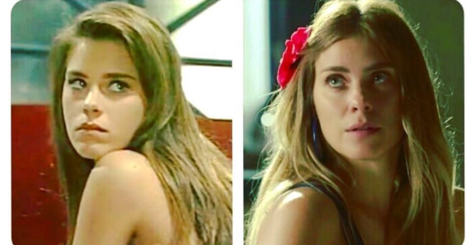 Carolina Dieckmann aos 13 e aos 40 anos
