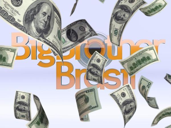 """Montagem com logo do BBB e """"chuva"""" de dólares"""