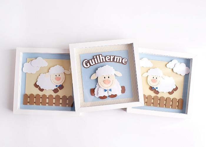 Trio de quadrinhos de ovelha feitos em papel com efeito 3D, moldura de MDF e vidro frontal, do Vince Ateliê (contato@vinceatelie.com.br). Cada peça mede 23 cm por 23 cm. R$ 380. Preço pesquisado em agosto de 2015 e sujeito a alterações