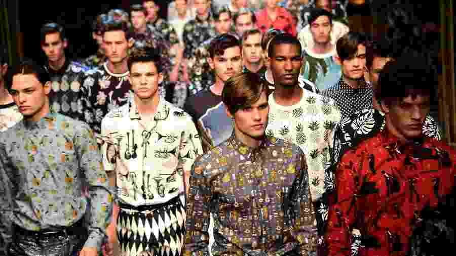 Desfile da grife Dolce Gabbana durante a Semana de Moda Masculina de Milão - AFP