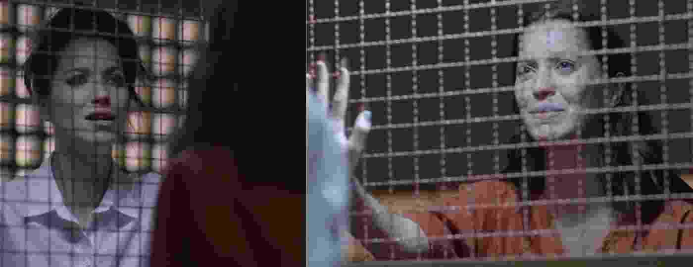 """Presa, Júlia revê a irmã gêmea Lorena em cena de """"Rock Story"""" que irá ao ar nesta quarta-feira (8) - Montagem/Reprodução/TV Globo"""