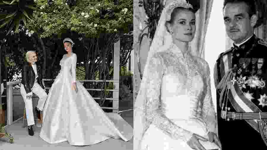 Miranda Kerr no seu casamento em maio deste ano e Grace Kelly, em 1956 - Reprodução/Instagram