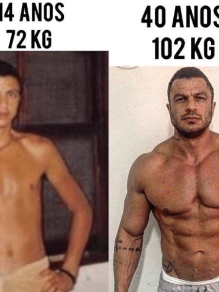 Kleber Bambam compara seu corpo aos 14 anos e agora, aos 40 - Reprodução/Instagram