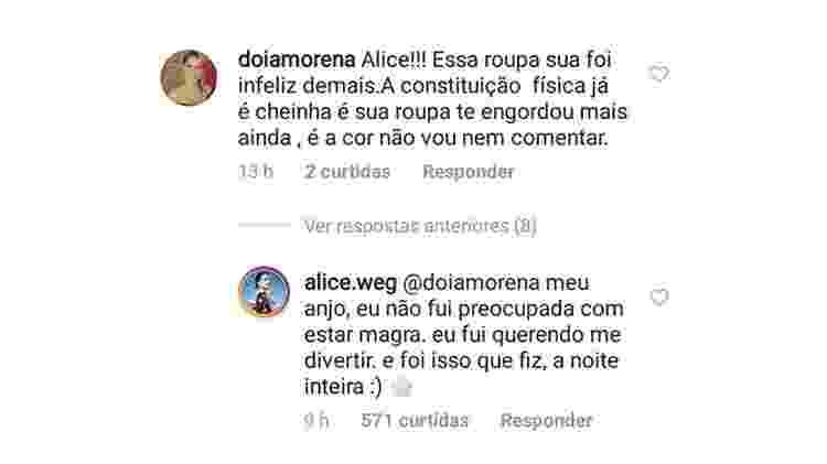 Alice Wegmann responde à seguidora - Reprodução/Instagram - Reprodução/Instagram