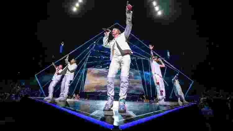 Os Backstreet Boys em show da turnê DNA, que passará por Uberlândia - Reprodução/Facebook