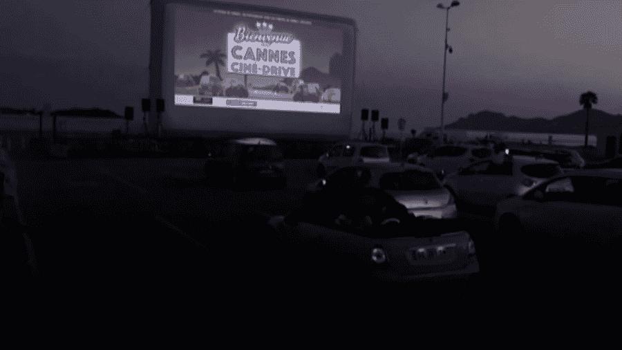 O cinema para carros montado em Cannes, na França - Reprodução/YouTube