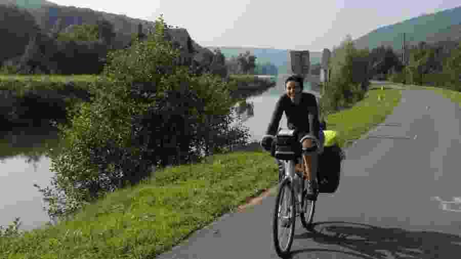 A paulista Helga Bevilacqua atravessou a Europa de bicicleta em 2014 - Acervo pessoal