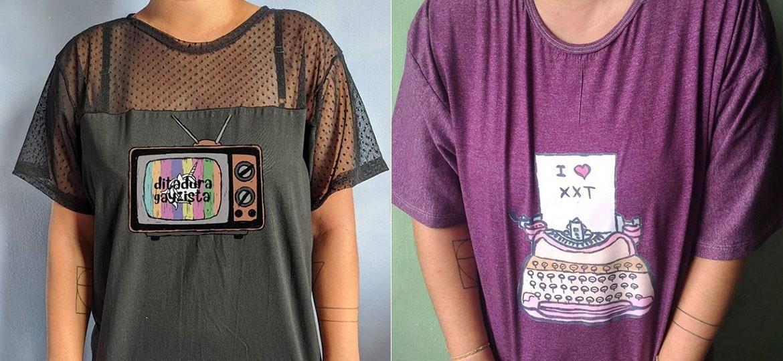 Camisetas da marca voltada para mulheres lésbicas Fanchonas - Reprodução/Instagram
