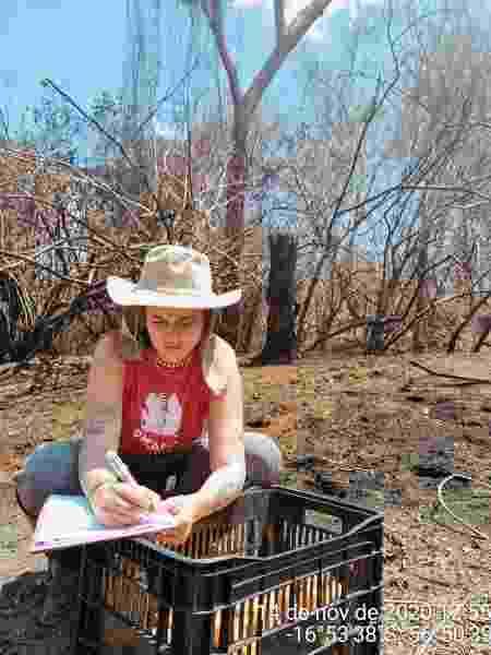 Hana durante ação voluntária no Pantanal  - Arquivo pessoal - Arquivo pessoal