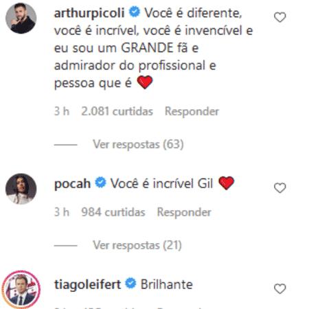 BBB 21: Comentários de Tiago Leifert, Pocah e Arthur na publicação de Gil - Reprodução/Instagram - Reprodução/Instagram