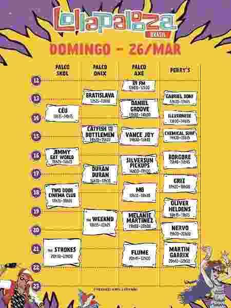 Line-up Lollapalooza Brasil 2017 - domingo - Reprodução - Reprodução