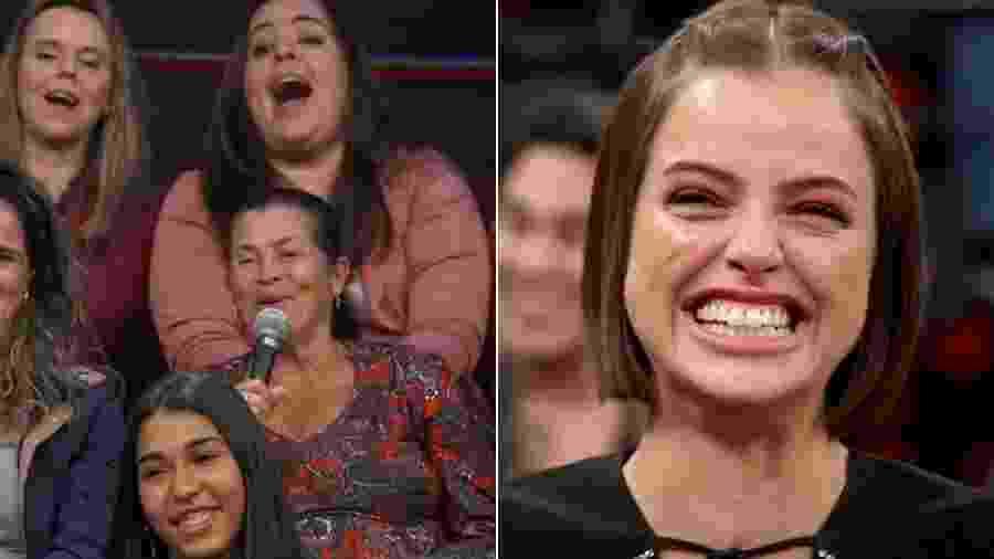 Agatha Moreira ouve final absurdo para Josiane, de A Dona do Pedaço, sugerido por mulher na plateia do Altas Horas - Montagem/UOL/Reprodução/TV Globo