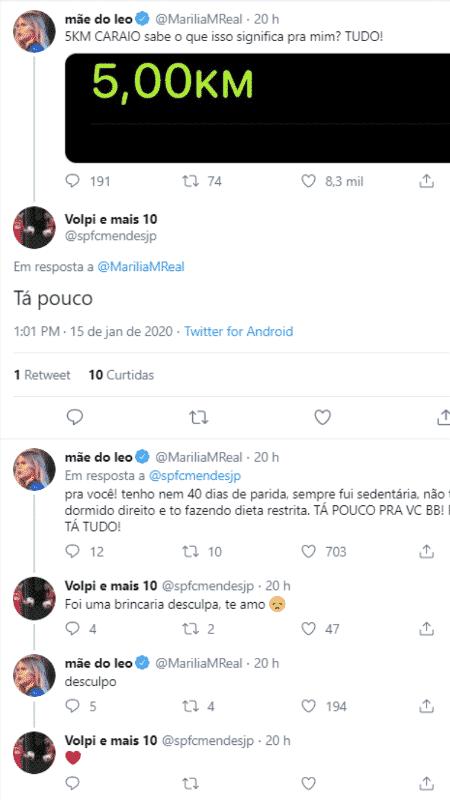 Marília Mendonça rebate seguidor que achou pouco ela ter corrido 5 km - Reprodução/Twitter - Reprodução/Twitter
