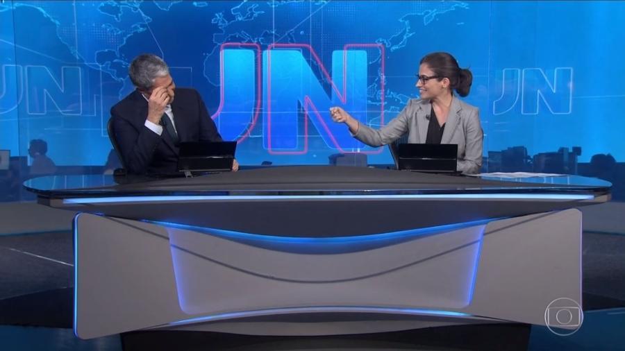 """William Bonner e Renata Vasconcelos no """"Jornal Nacional"""" - Reprodução/TV Globo"""