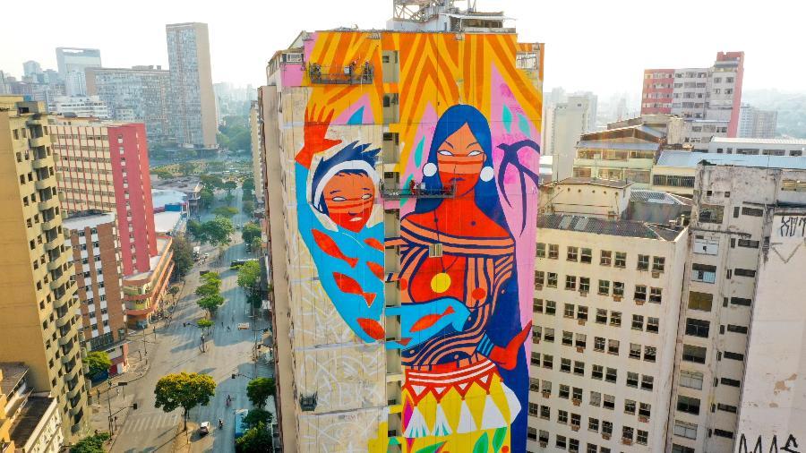 Empena gigante assinada por Daiara Tukano em Belo Horizonte - Divulgação