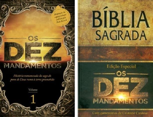 """Capa do livro baseado na novela """"Os Dez Mandamentos"""" e da edição especial da Bíblia - Reprodução"""