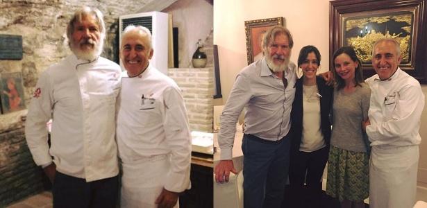 Barbudo, Harrison Ford visita restaurante em Toledo, na Espanha, acompanhado da mulher, Calista Flockhart - Reprodução/Facebook/Grupo Adolfo