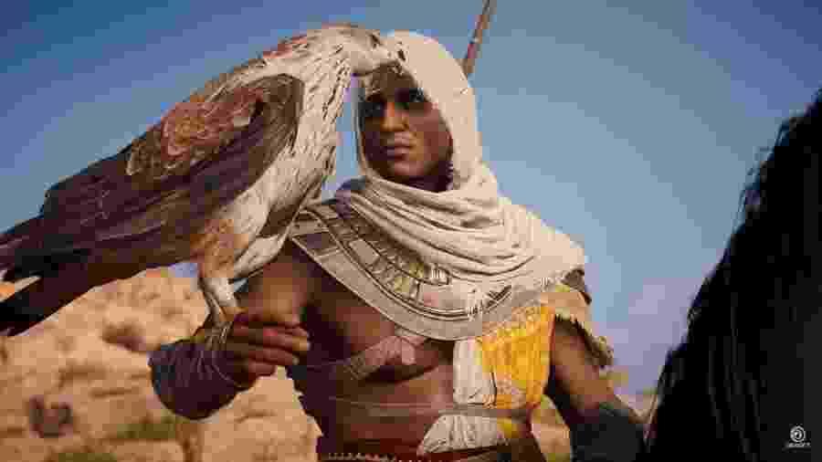 """Bayek e sua fiel águia Senu serão os protagonistas de """"Assassin""""s Creed Origins"""", game que trará uma série de novidades à franquia - Reprodução"""