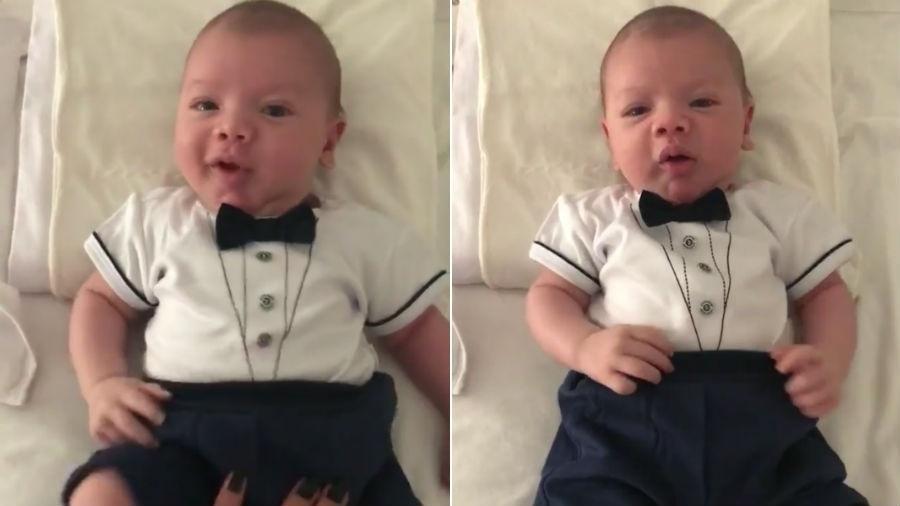 Gabriel, filho de Andressa Suita e Gusttavo Lima, todo fofo de gravatinha borboleta - Reprodução/Instagram