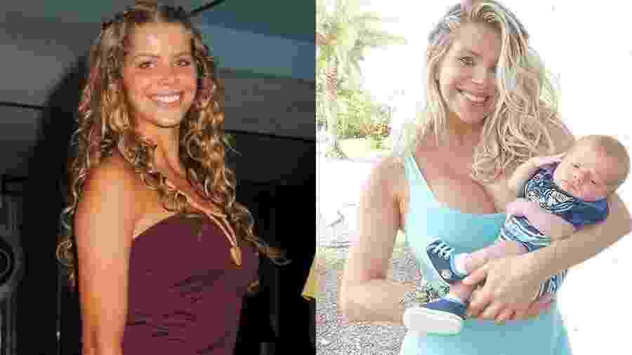 """A loira em 2003, aos 23 e aos 40, plena, com o pequeno Enrico no colo, fruto de inseminação artificial e de uma maternidade independente. Menos de dois meses após o parto, ela já emagreceu 16 quilos. """"A dieta da amamentação está sendo a mais eficaz.  É claro que estou procurando a me alimentar de forma saudável..."""", contou em seu Instagram - João Cordeiro Jr./Folha Imagem e Reprodução/Instagram"""