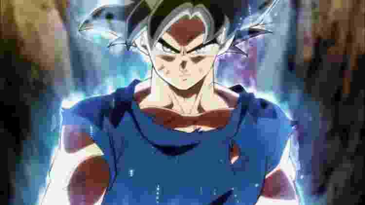Em sua nova forma, Goku ganha um visual inédito e uma personalidade muito mais séria do que o habitual - Reprodução