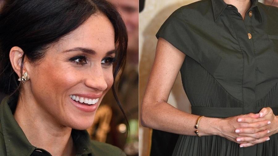 Um dia depois de anunciar sua primeira gravidez, Meghan Markle prestou homenagens a Diana usando joias que pertenciam à sua coleção. Além dos delicados brincos de borboleta usados pela princesa de Gales no Canadá, um ano antes do nascimento de Harry, a duquesa de Sussex carregou um bracelete de ouro, que também foi da falecida sogra.