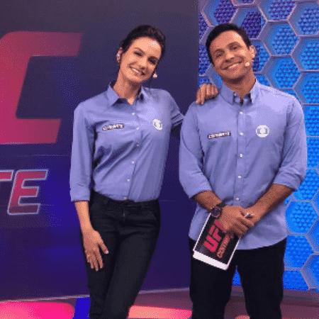 Kyra Gracie e Rhoodes Lima em transmissão da Globo - Reprodução/Instagram