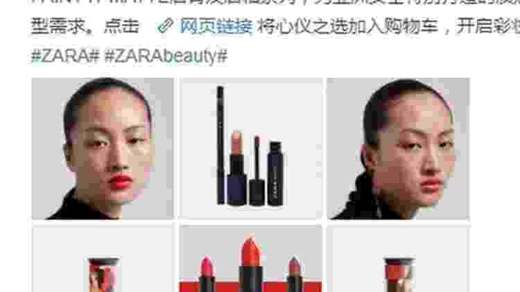 Alguns questionaram em redes sociais de a Zara queria 'enfeiar' o povo chinês apresentando uma modelo sardenta - Reprodução/Facebook - Reprodução/Facebook