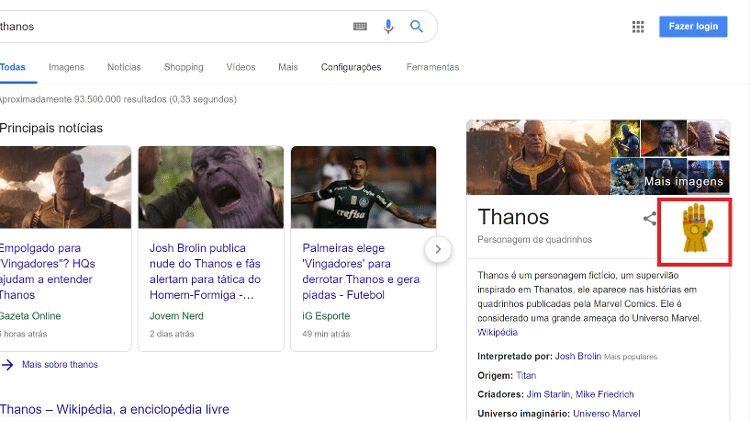 Vingadores | Easter Egg do Google recria estalar de dedos de Thanos.